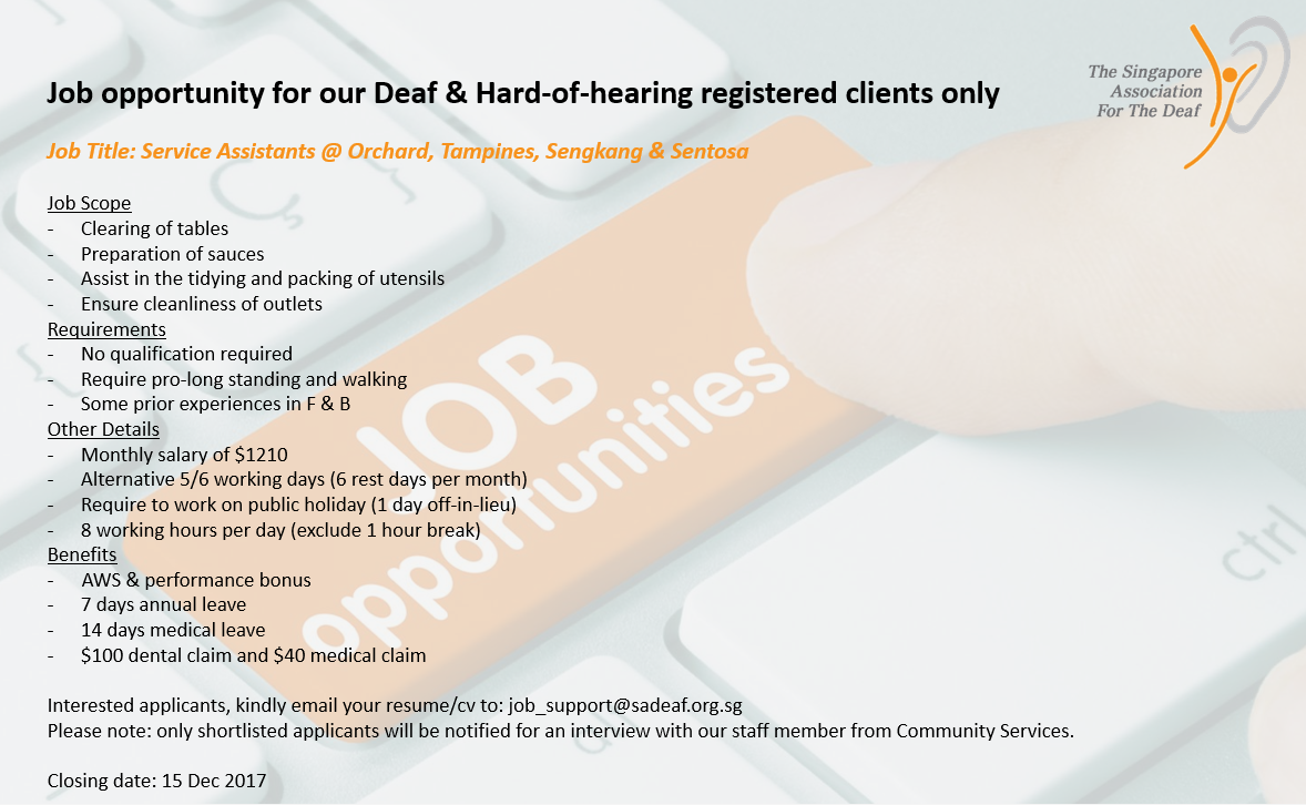 Job Opportunities For Deaf And Hard-of-hearing Registered