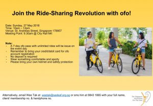 Join the Ride-Sharing Revolution with ofo! @ ofo Tent at Car Free Sunday | Singapore | Singapore