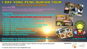 1 Day Yong Peng Durian Tour @ Meeting Point: 6am at Lavender McDonald's near Lavender MRT | Singapore | Singapore