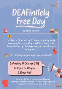 DEAFinitely Free Day @ SADeaf Hall | Singapore | Singapore