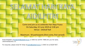 Hari Raya Puasa Celebration @ SADeaf Hall | Singapore | Singapore