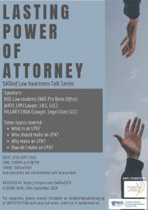 Lasting Power of Attoney @ SADeaf Hall | Singapore | Singapore