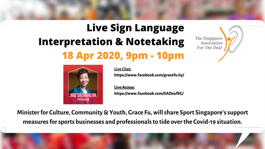 Live Sign Language Interpretation & Notetaking 18 Apr 2020, 9pm - 10pm (GRACE FU