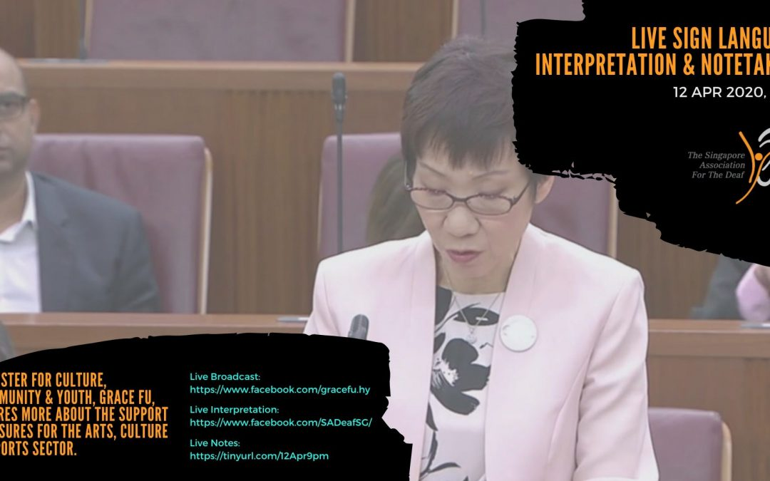 Live Interpretation & Note Taking: Minister for Culture, Community & Youth, Grace Fu, shares more about the support measures for the arts, culture & sports sector.