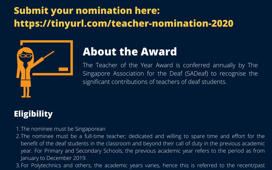Teacher of the Deaf Award 2020