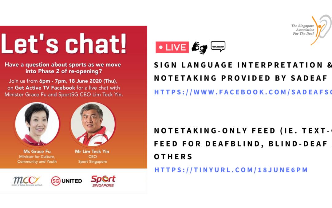 Live Chat with Minister Grace Fu: Live interpretation & Notetaking