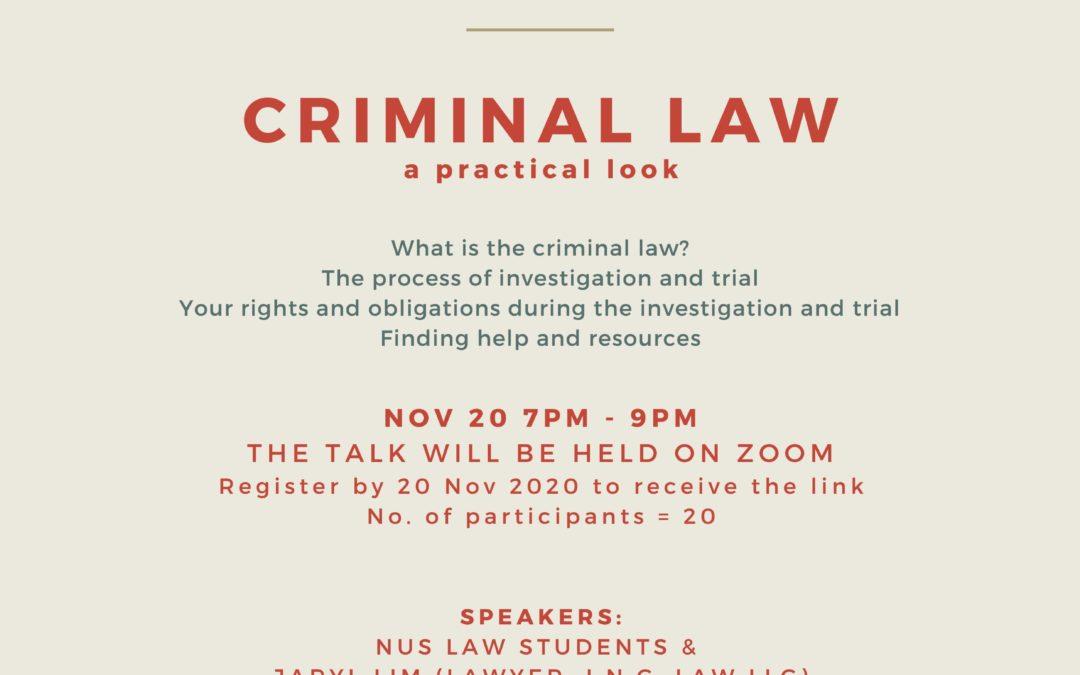 Law Awareness Talk – Criminal Law