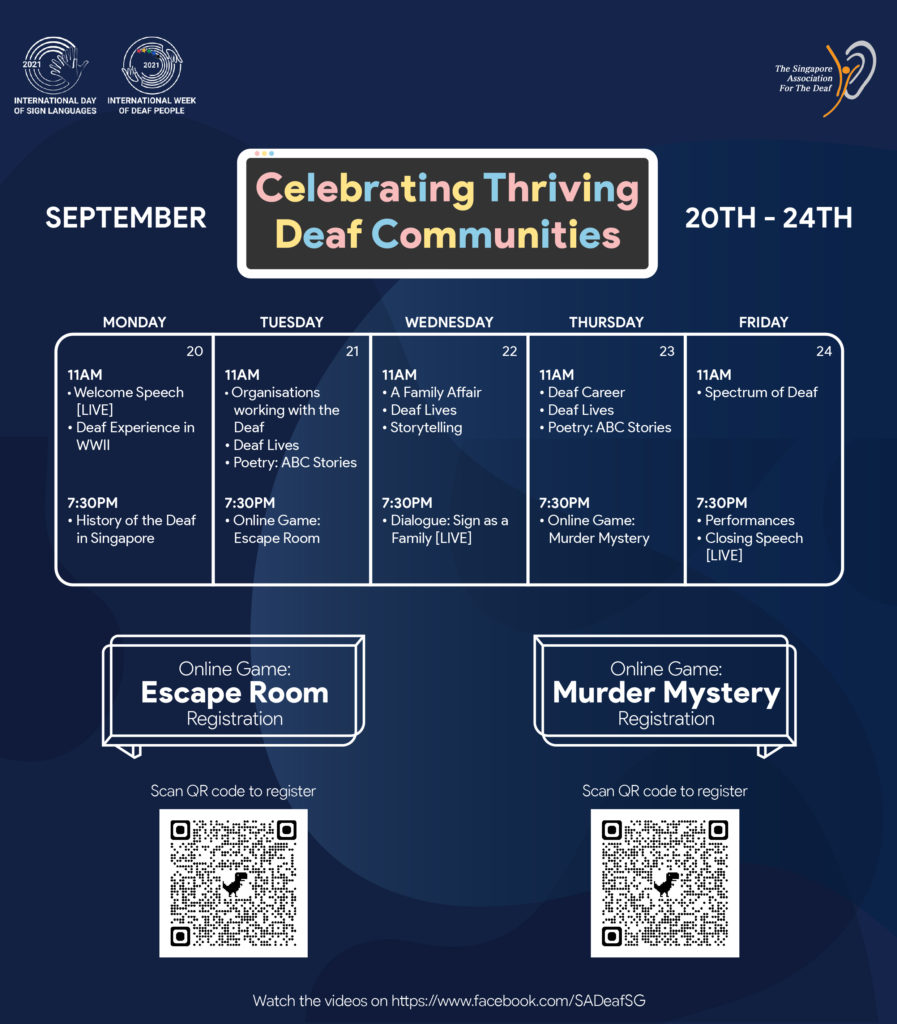 A poster with the theme and schedule of the daily content that will be posted during the International Week of the Deaf People 2021. There are 2 QR codes to register for the online games for the event.